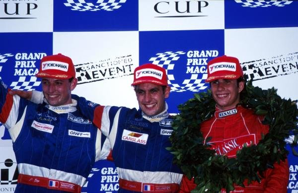 Race Winner Soheil Ayari (FRA) Graff Racing (centre), 2nd placed Patrice Gay (FRA) Graff Racing (left), and 3rd placed Ernique Bernoldi (BRA) Prometecme (right)