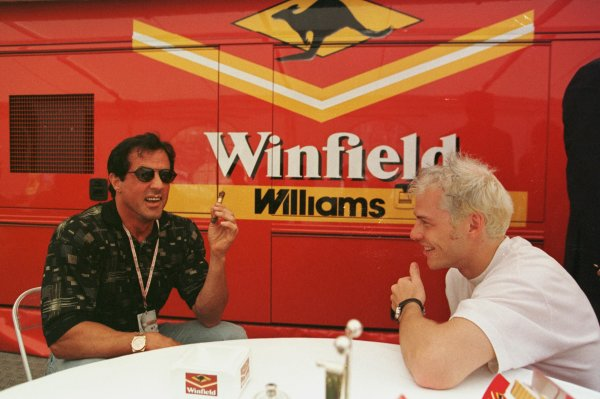 1998 Monaco Grand Prix.Monte Carlo, monaco.21-24 May 1998.Jacques Villeneuve (Williams Mecachrome) with Sylvester Stallone.World Copyright - Steve Etherington/LAT Photographic