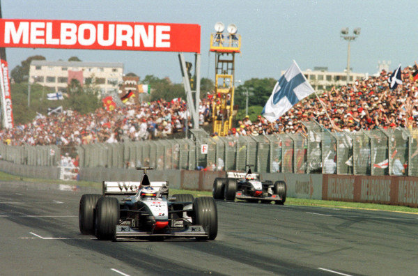 1998 Australian Grand Prix.Albert Park, Melbourne, Australia.6-8 March 1998.Mika Hakkinen and David Coulthard (McLaren MP4/13 Mercedes-Benz) finish in 1st and 2nd positions.World Copyright - LAT Photographic