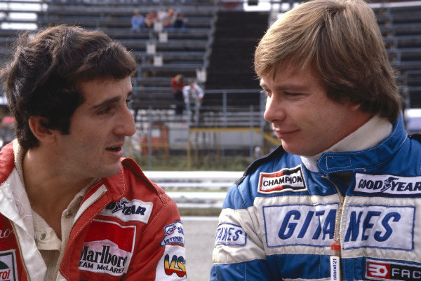 1980 Austrian Grand Prix.Osterreichring, Zeltweg, Austria.15-17 August 1980.Alain Prost (McLaren Ford) with DIdier Pironi (Ligier Ford).Ref-80 AUT 08.World Copyright - LAT Photographic