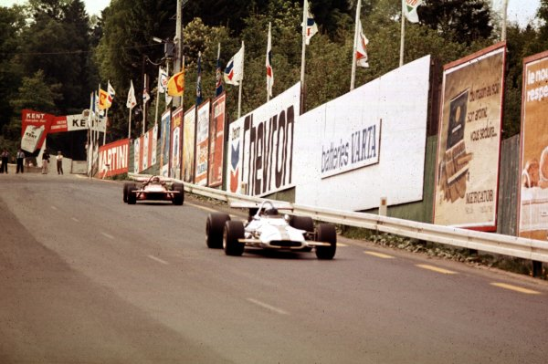 1970 Belgian Grand Prix.Spa-Francorchamps, Belgium.5-7 June 1970.Pedro Rodriguez (BRM P153) leads Chris Amon (March 701 Ford). They finished in 1st and 2nd positions respectively.Ref-70 BEL 32.World Copyright - LAT Photographic