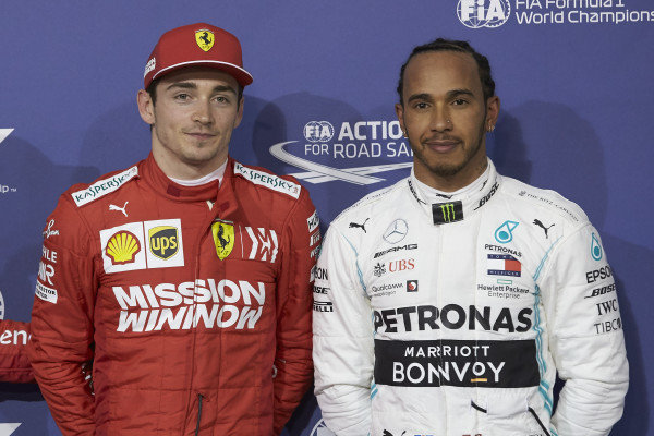Pole man Charles Leclerc, Ferrari, andLewis Hamilton, Mercedes AMG F1