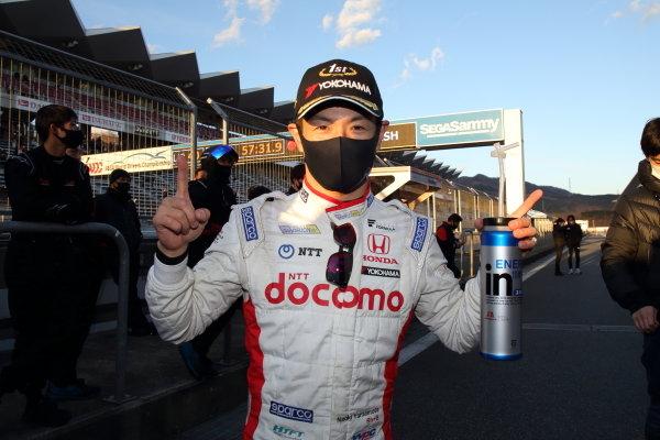 2020 Super Formula drivers' champion Naoki Yamamoto ( #5 DOCOMO TEAM DANDELION RACING, Dallara SF19 Honda ), 5th place, celebrates in parc ferme