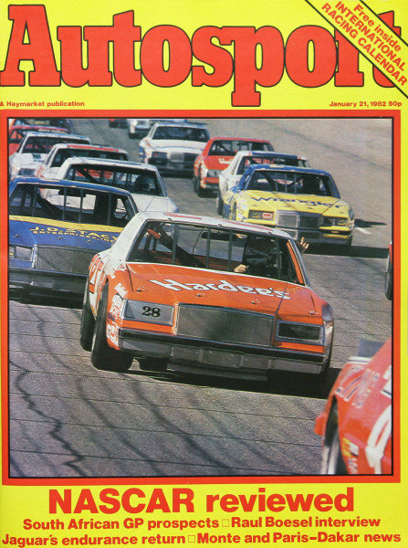 Cover of Autosport magazine, 21st January 1982