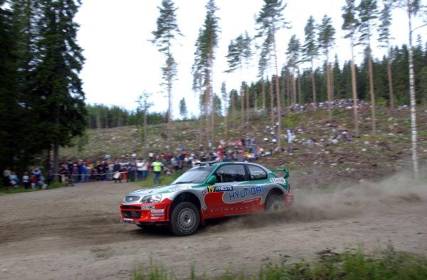 2002 World Rally Championship.Neste Rally Finland, Jyvaskyla Finland, August 8-11th.Juha Kankkunen during shakedown.Photo: Ralph Hardwick/LAT