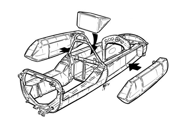 Lotus 25 1962 exploded monocoque overview