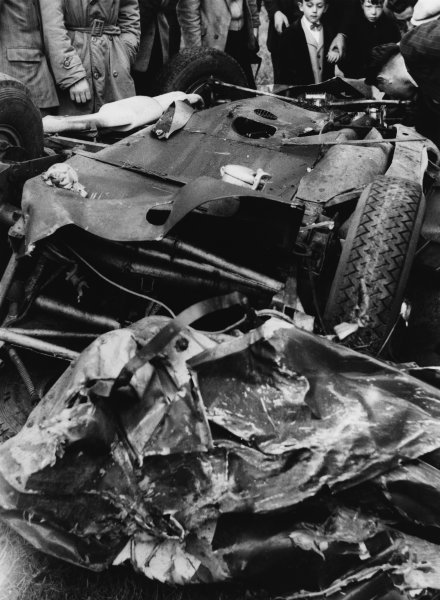 Le Mans, France. 12th - 13th June 1954 The wreckage of B. Bira/Peter Collins (Aston Martin DB3S), after crashing on lap138, portrait. World Copyright: LAT Photographic Ref: Motorsport Used Pic 2nd July 1954 Pg 31.