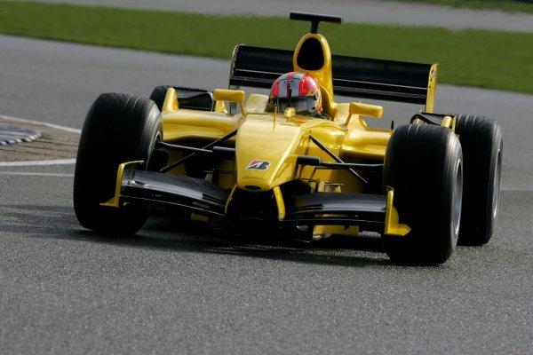 Tiago Monteiro (POR) Jordan Toyota EJ15.Formula One Testing, Silverstone, England, 22 February 2005.DIGITAL IMAGE