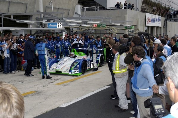 Sebastien Loeb (FRA) Pescarolo Sport Pescarolo C60H Judd completed his 10 rookie initiation laps at Le Mans on the same day as winning the Rally of Turkey. Le Mans Test Day, Le Mans, France, 5 June 2005. DIGITAL IMAGE