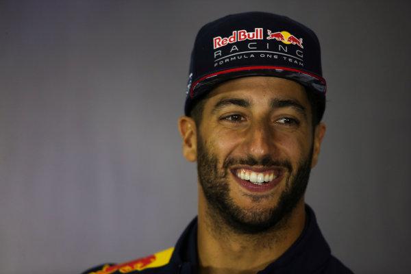 Silverstone, Northamptonshire, UK.  Thursday 13 July 2017. Daniel Ricciardo, Red Bull Racing, in the Thursday press conference. World Copyright: Charles Coates/LAT Images  ref: Digital Image DJ5R0735