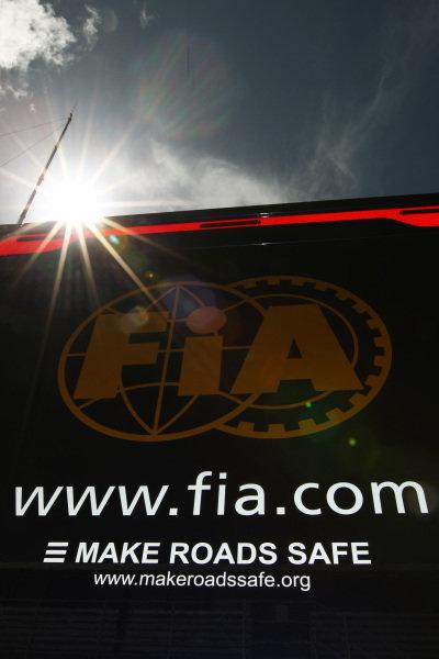 FIA logo. Formula One World Championship, Rd 10, British Grand Prix, Preparations, Silverstone, England, Thursday 8 July 2010.  BEST IMAGE