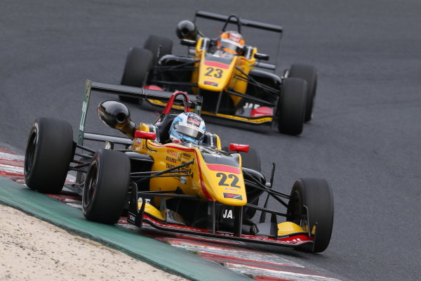2015 Japanese Formula 3 Championship. Okayama, Japan. 23rd - 24th May 2015. Rd 6 & 7. Rd.6 2nd position Lucas Ordonez ( #22 B-MAX NDDP F3 ) 3rd position Mitsunori Takaboshi ( #23 B-MAX NDDP F3 ) action World Copyright: Masahide Kamio/LAT Photographic. Ref:  2015JF3_Rd6&7_007