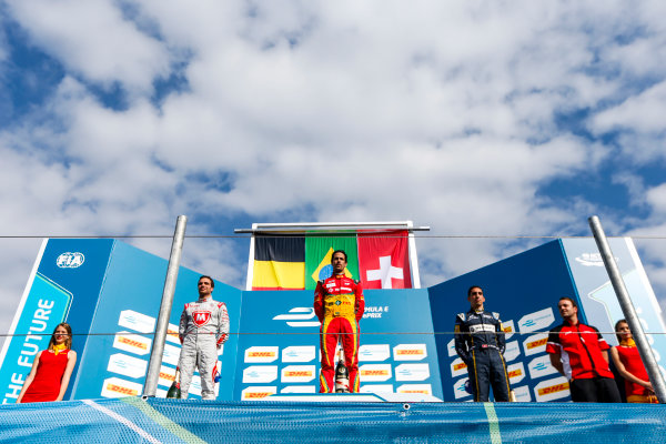2014/2015 FIA Formula E Championship. Berlin ePrix, Berlin Tempelhof Airport, Germany. Saturday 23 May 2015 Podium. 1st, Lucas di Grassi (BRA)/Audi Abt Sport - Spark-Renault SRT_01E, 2nd, Jerome D'Ambrosio (BEL)/Dragon Racing - Spark-Renault SRT_01E and 3rd, Sebastien Buemi (SWI)/E.dams Renault - Spark-Renault SRT_01E. Photo: Zak Mauger/LAT/Formula E ref: Digital Image _L0U9684