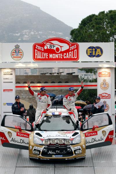 2013 World Rally Championship Monte Carlo Rally 15th - 20th January 2013 Sebastien Loeb, Daniel Elena, Citroen, podium Worldwide Copyright: McKlein/LAT