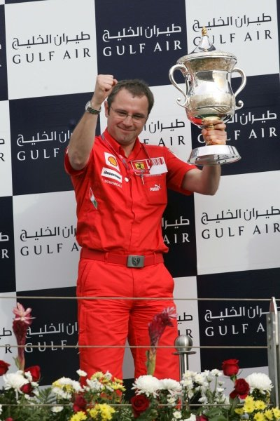 Stefano Domenicali (ITA) Ferrari Manager of F1 Operations on the podium. Formula One World Championship, Rd 3, Bahrain Grand Prix, Race, Bahrain International Circuit, Bahrain, Sunday 6 April 2008.
