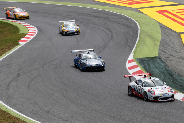 Circuit de Catalunya, Barcelona, Spain. Sunday 10 May 2015. Kuba Giermaziak, No.1 VERVA Lechner Racing Team, leads Alex Riberas, No.23 The Heart of Racing by Lechner, Christian Engelhart, No.14 MRS GT-Racing, and Philipp Eng, No.17 Market Leader by Project 1. World Copyright: Steven Tee/LAT Photographic. ref: Digital Image _L4R9652
