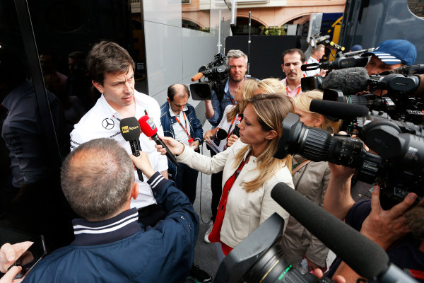 Monte Carlo, Monaco. Sunday 24 May 2015. Toto Wolff, Executive Director (Business), Mercedes AMG, answers questions from the press. World Copyright: Alastair Staley/LAT Photographic. ref: Digital Image _79P6998