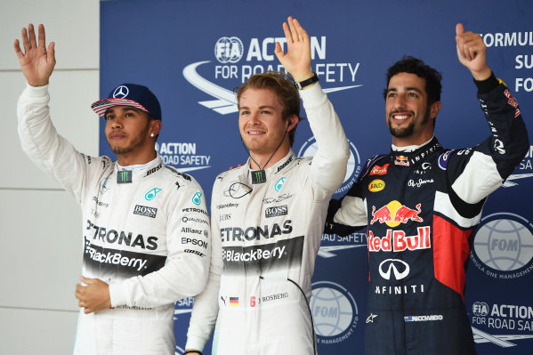 (L to R): Lewis Hamilton (GBR) Mercedes AMG F1, pole sitter Nico Rosberg (GER) Mercedes AMG F1 and Daniel Ricciardo (AUS) Red Bull Racing celebrates in parc ferme at Formula One World Championship, Rd16, United States  Grand Prix, Qualifying, Austin, Texas, USA, Sunday 25 October 2015.