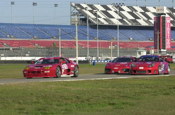 2002 Rolex 24 @ Daytona, Daytona International Speedway, Daytona Beach, Florida, USAFebruary 2002An all red battle between two Ferrari's and a Porsche.C: 2002, Douglas Phillips, USALAT Photographic