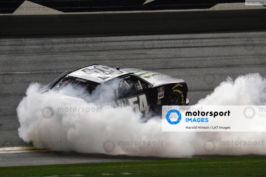 #54: Ty Gibbs, Joe Gibbs Racing, Toyota Supra Monster Energy, celebrates after winning the  Super Start Batteries 188 at Daytona
