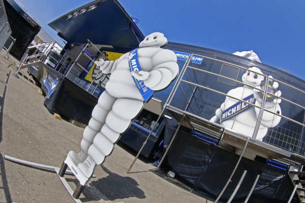Michelin man and Michelin area in Service at World Rally Championship, Rd5, Rally Portugal, Preparations, Matosinhos, Portugal, 18 May 2016.