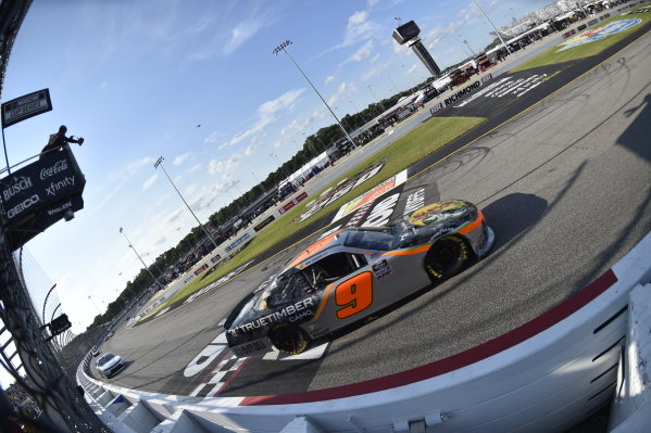 #9: Noah Gragson, JR Motorsports, Chevrolet Camaro Bass Pros Shops/TrueTimber/BRCC checkered flag