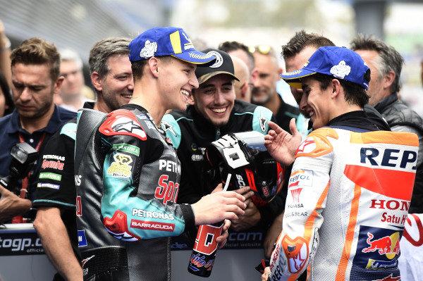 Polesitter Fabio Quartararo, Petronas Yamaha SRT, third place Marc Marquez, Repsol Honda Team.