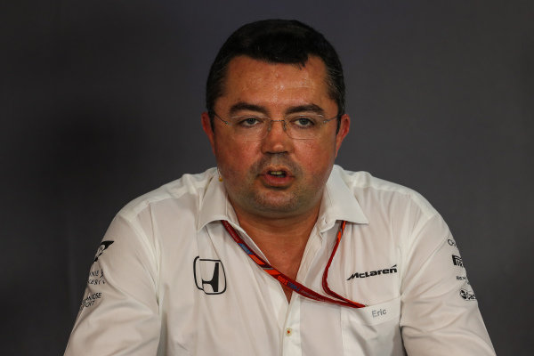 Eric Boullier (FRA) McLaren Racing Director in the Press Conference at Formula One World Championship, Rd9, Austrian Grand Prix, Practice, Spielberg, Austria, Friday 7 July 2017.