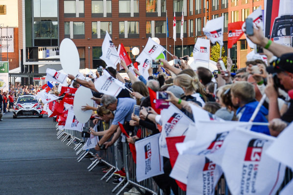 Esapekka Lappi (FIN) / Janne Ferm (FIN), Toyota Gazoo Racing WRT Toyota Yaris WRC and fans and flags at World Rally Championship, Rd9, Rally Finland, Day Two, Jyvaskyla, Finland, 29 July 2017.