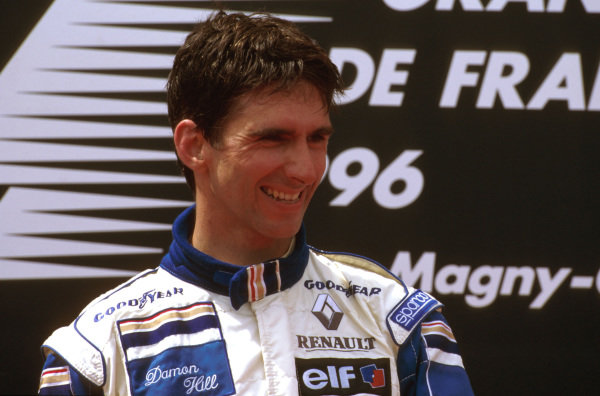 Magny-Cours, France.28-30 June 1996.Damon Hill (Williams Renault) 1st position on the podium.Ref-96 FRA 01.World Copyright - LAT Photographic