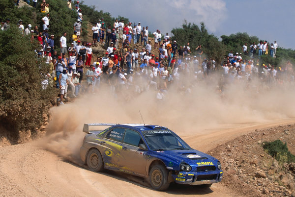 2002 World Rally ChampionshipAcropolis Rally, Greece. 13th - 16th June 2002.Tommi Makinen/Kaj Lindstron, Subaru Impeza WRC, action.World Copyright: McKlein/LAT Photographicref: 35mm Image A09