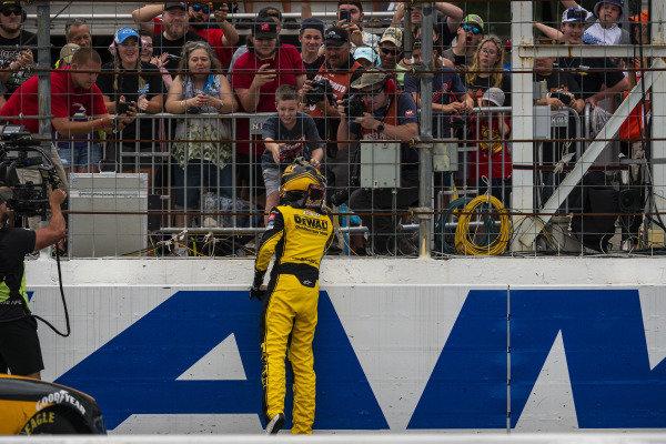 #54: Christopher Bell, Joe Gibbs Racing, Toyota Supra DEWALT celebrates his win