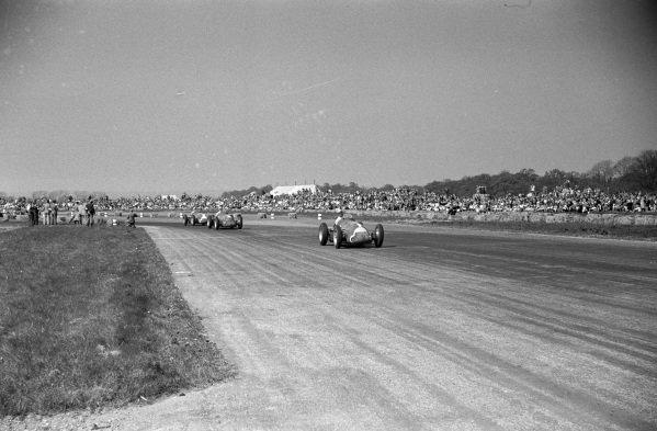 Juan Manuel Fangio, Alfa Romeo 158, leads Giuseppe Farina, Alfa Romeo 158, and Luigi Fagioli, Alfa Romeo 158.