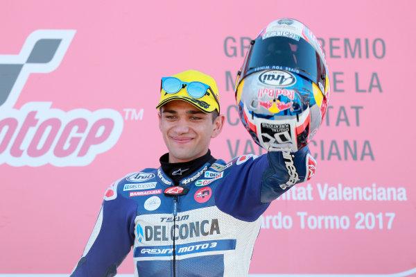 2017 Moto3 Championship - Round 18 Valencia, Spain  Sunday 12 November 2017 Podium: Race winner Jorge Martin, Del Conca Gresini Racing Moto3  World Copyright: Gold and Goose Photography/LAT Images  ref: Digital Image 705967