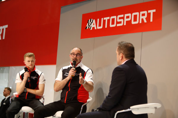 Autosport International Exhibition. National Exhibition Centre, Birmingham, UK. Thursday 11th January 2017. James McNaughton and Dan Harper of Porsche.World Copyright: Joe Portlock/LAT Images Ref: _U9I9898