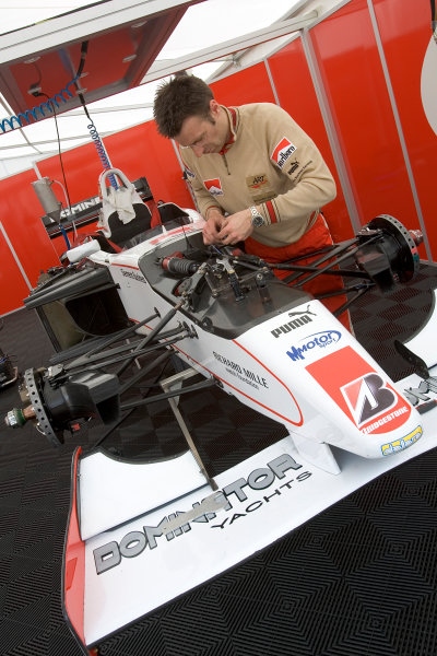 2005 GP2 Series - ImolaAutodromo Enzo e Dino Ferrari, Italy. 21st - 24th April.Thursday Preview.ART Grand Prix Mechanics at work in the pit.Photo: GP2 Series Media Serviceref: Digital Image Only.