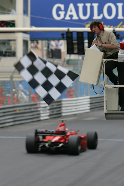 2005 GP2 Series - MonacoMonte-Carlo. 20th & 21st MaySaturday - RaceGianmaria Bruni (I, Coloni Motorsport). takes the flag for 2nd place Action. Photo: GP2 Series Media Serviceref: Digital Image Only.