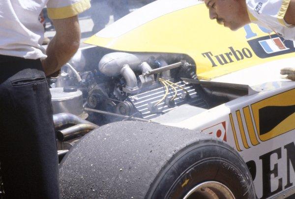 1981 Spanish Grand Prix.Jarama, Spain. 19-21 June 1981.The turbocharged Renault engine in the RE30 of Rene Arnoux.World Copyright: LAT PhotographicRef: 35mm transparency 81ESP20