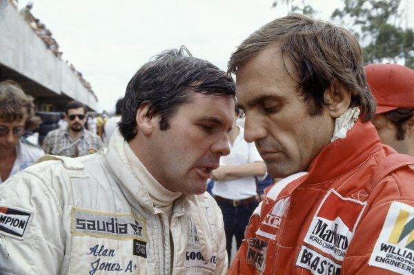 1980 Brazilian Grand Prix.Interlagos, Sao Paulo, Brazil. 25-27 January 1980.Alan Jones and Williams team-mate Carlos Reutemann. Portrait.World Copyright: LAT PhotographicRef: 35mm transparency 80BRA17