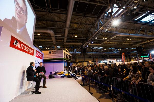 Autosport International Exhibition. National Exhibition Centre, Birmingham, UK. Sunday 15 January 2017. Jacques Villeneuve is interviewed on the Autosport stage Photo: Sam Bloxham/LAT Photographic ref: Digital Image _SLB5154