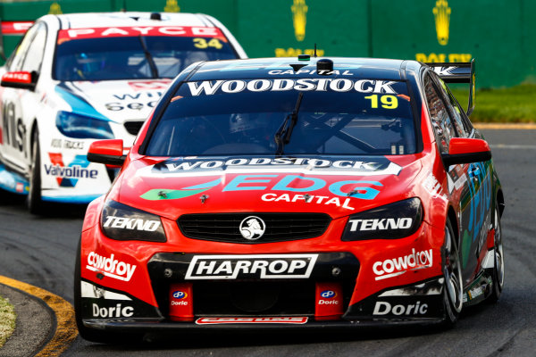Australian Supercars Series Albert Park, Melbourne, Australia. Saturday 25 March 2017. Race 3. Will Davison, No.19 Holden Commodore VF, TEKNO Woodstock Racing, leads James Moffat, No.34 Holden Commodore VF, Wilson Security Racing GRM. World Copyright: Zak Mauger/LAT Images ref: Digital Image _56I8300