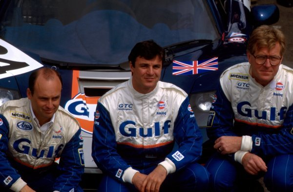 One half of the GTC Gulf Racing team with their McLaren F1 GTR. L-R: Maurizio Sandro Sala (BRA), Mark Blundell (GBR), Ray Bellm (GBR). Le Mans 24 Hours, Le Mans, France, 18-19 June 1995.