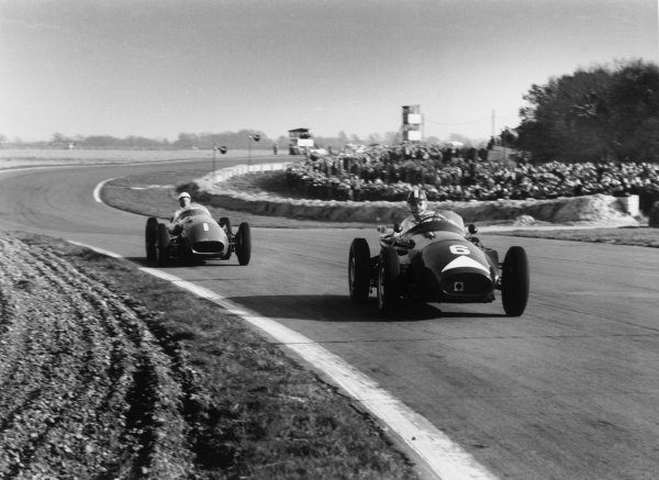 Goodwood, England. 2nd April 1956.Stirling Moss (Maserati 250F), 1st position, chases Archie Scott-Brown (Connaught B-Type B2), retired, action. World Copyright: LAT Photographic.Ref: 390 - 17.
