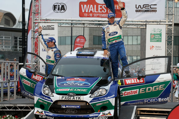 Round 10- Wales Rally GB 12-16/9- 2012.Petter Solberg, Chris Patterson, Ford WRC, Podium.Worldwide Copyright: McKlein/LAT