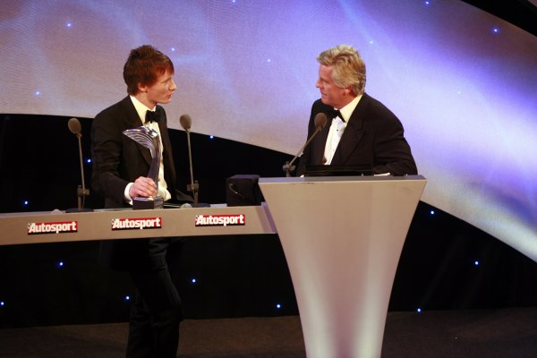 2006 Autosport AwardsGrosvenor House Hotel, London. 3rd December 2006.Mike Conway talks to Steve Rider on stage.World Copyright: Malcolm Griffiths/LAT Photographicref: Digital Image _MG_2230