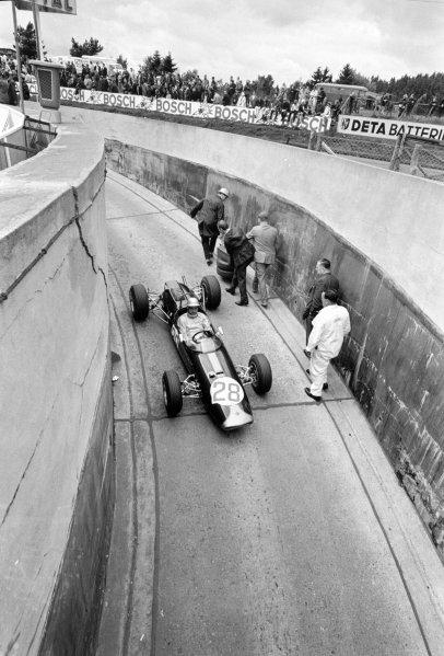 1966 German Grand Prix.Nurburgring, Germany. 7 August 1966.Hans Herrmann, Brabham BT18-Ford, F2 class, action.World Copyright: LAT PhotographicRef: L66/534/0