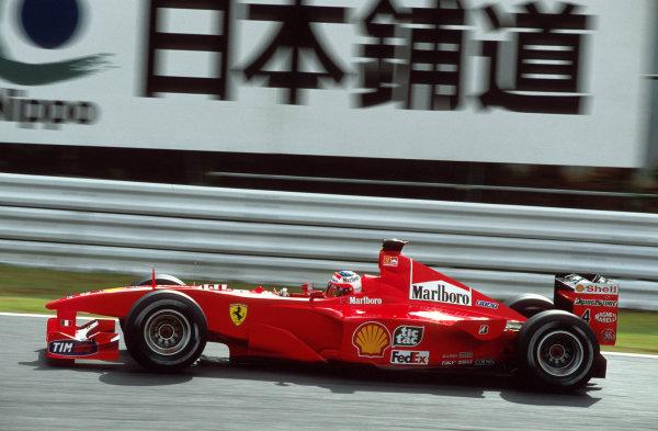 Suzuka, Japan.6-8 October 2000.Rubens Barrichello (Ferrari F1-2000) action.World copyright - LAT Photographic