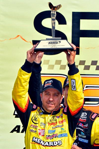 April 19-20, 2013, Kansas City, Kansas USA Matt Crafton in Victory Lane © 2013, Brian Czobat LAT Photo USA .