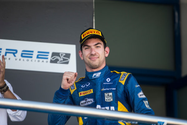 2017 FIA Formula 2 Round 10. Circuito de Jerez, Jerez, Spain. Sunday 8 October 2017. Nicholas Latifi (CAN, DAMS) on the podium. Photo: Andrew Ferraro/FIA Formula 2. ref: Digital Image _FER3673