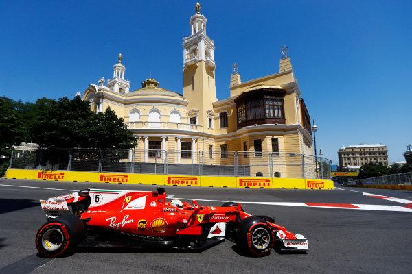 Baku City Circuit, Baku, Azerbaijan. Saturday 24 June 2017. Sebastian Vettel, Ferrari SF70H.  World Copyright: Steven Tee/LAT Images ref: Digital Image _R3I2773